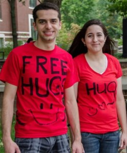 Photo of students with Free Hug Tshirts