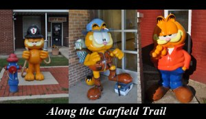 Three Garfield statues