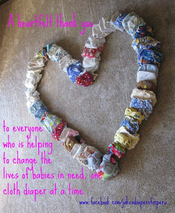 heart made of Jake's diapers